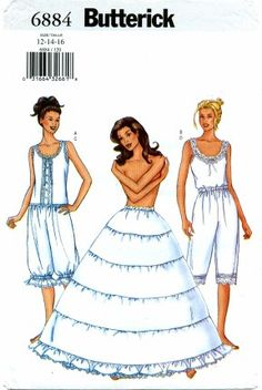 Items similar to Camisole Pantaloons and Hoop Skirt Butterick 6884 Sewing Pattern Sizes 6 8 10 or 12 14 16 Civil War Costume Ante BellumCosplay on Etsy Lingerie Patterns, Sewing Lingerie, Skirt Patterns Sewing, Vintage Sewing Patterns, Sewing Ideas, Butterick Sewing Patterns, Sewing Projects, Skirt Sewing, Clothing Patterns