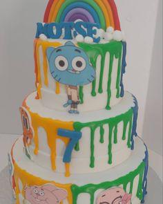 Gumball and Darwin Gumball, Darwin, Birthday Cakes, Rainbow, Unisex, Desserts, Food, Rainbows, Meal