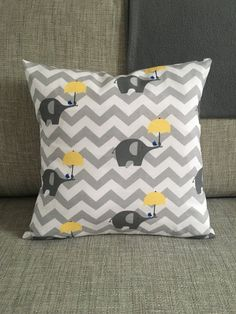 Fabric Elephant Cushion  Light Grey & Yellow  Chevron