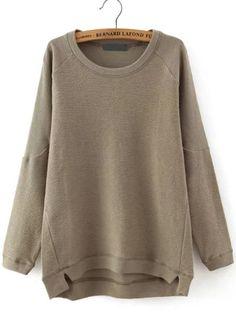 Brown Round Neck Dip Hem Loose Sweatshirt -SheIn(Sheinside) Mobile Site