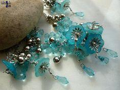 Efflorescence - Parure estivale collier et boucles d'oreille turquoise au style boho chic by TaliBellule