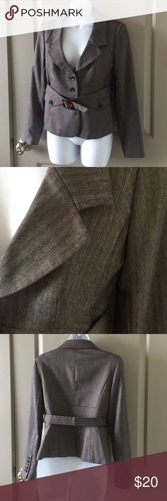 Brown Herringbone Blazer **Matches Editor pants posted below. Belted blazer/suit jacket. All items come from pet-free, smoke-free home. See something you like? Make me an offer! Everything must go!! Express Jackets & Coats Blazers