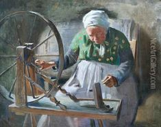 The Spinning Wheel Oil Painting - William Albert Ablett