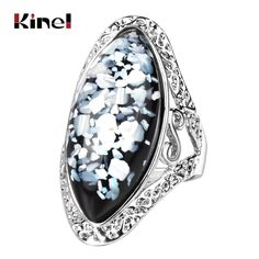 69358ce90fc Kinel Luxury Colorful Shells Ring For Women Charm Artificial Coral  Accessories Silver Color Oval Vintage Big