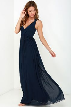 Strike a Minerva Navy Blue Maxi Dress at Lulus.com! Comes also in sage, peach and rose.