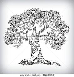 Hand drawn tree symbol isolated vector illustration - stock vector