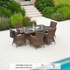 In the garden? By the pool? Or maybe even both? No matter where you would see this table set, we are sure it will fit perfectly! Impress your friends with a dinner by the pool. Offer your hotel guests the chance to have dinner outside, enjoying the warm air and the special food served. You have the location; we have the product. In stock! Contact us!