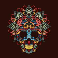 lotus flower tattoo designs: Skull and lotus flower Illustration