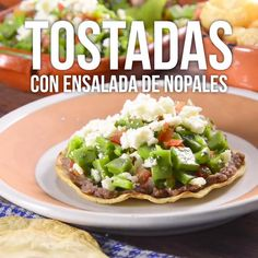 Tostadas con Ensalada de Nopales - Pen Tutorial and Ideas Healthy Dinner Recipes, Mexican Food Recipes, Breakfast Recipes, Vegetarian Recipes, Cooking Recipes, Breakfast Healthy, Keto Recipes, Tasty Videos, Food Videos