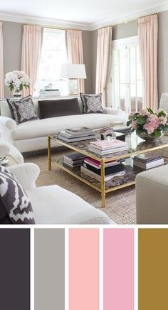 The living room color schemes to give the impression of more colorful living. Find pretty living room color scheme ideas that speak your personality. Pink Living Room, Living Room Inspiration, Room Color Design, Living Room Designs, Room Color Schemes, Living Room Paint, Living Decor, Living Room Color Combination, Beautiful Living Rooms