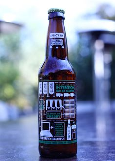 """More of a flowchart than an infographic, but really cool anyway! """"Beer freshness"""" graphic art on select bottles of Stone IPA."""