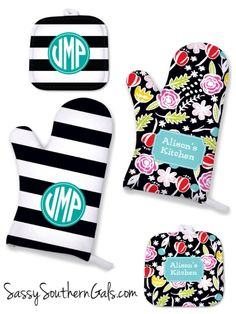 Monogrammed Oven Mitt, Personalized Kitchen Accessories, Monogrammed Pot Holder, Oven Mitt Personalized Monogrammed Gift, by SassySouthernGals on Etsy https://www.etsy.com/listing/241630782/monogrammed-oven-mitt-personalized