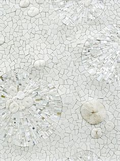 White mosaic rile mirror art .·:*¨¨*:·.Blanc.·:*¨¨*:·.