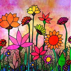 Garden at Dusk flowers art print on luster fine art paper flower art garden – Saida Piecuch – Art Paper Flower Art, Paper Flowers, Painting Flowers, Wood Flowers, Art Floral, Whimsical Art, Handmade Art, Colorful Flowers, Fine Art Paper