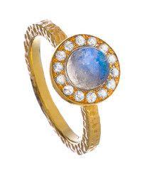 Solid Gold Blue Moonstone Aquamarine Aegean Ring LUXE