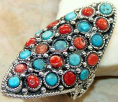 Beautiful item with Turquoise, Coral Gemstone(s) set in pure 925 sterling silver.