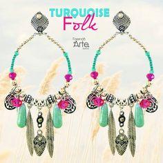 Para começar bem a semana!!!  Kit Brinco Turquoise Folk feito na mola, bem fácil de fazer e muito lindo!!! Novidade no site! Garanta o seu!