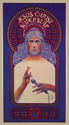 Promotional poster for Jesus Christ Superstar (1971) by artist David Byrd.