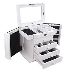 Extra Large Wooden Jewelry Box Jewel Case Cabinet Armoire Ring Necklacel Gift Storage Box Organizer WHITE >>> Visit the image link more details. Large Jewelry Box, Wooden Jewelry Boxes, Jewellery Boxes, Layered Jewelry, Jewellery Storage, Jewelry Organization, White Jewelry Box, Jewelry Cabinet, Jewelry Armoire
