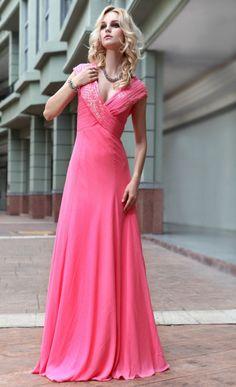 Graceful Chiffon Fuchsia Pleated Evening Dress