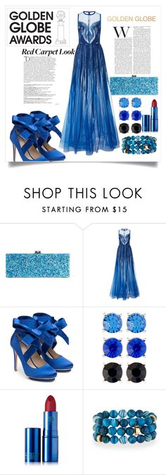 """""""The Fab Blue"""" by ulmrwd ❤ liked on Polyvore featuring Balmain, Edie Parker, Elie Saab, Liam Fahy, Natasha Accessories, Lipstick Queen and NEST Jewelry"""