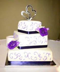 Elegant Garden Spring Ivory Purple Yellow Multi-shape Square Wedding Cakes Photos & Pictures - WeddingWire.com