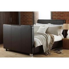 Hyder Caprice TV Bed - - Home and Garden Design Ideas Double King Size Bed, Super King Size Bed, Double Beds, Bed Kingdom, Leather Bed, Real Leather, Tv Beds, Bed Base, Mattress