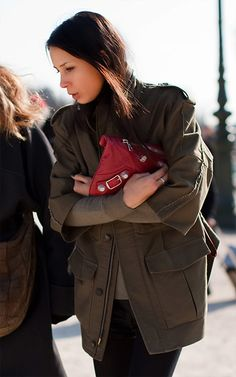 Below: Love that spot of red from the Balenciaga SGH Flat Clutch amidst the olive drab colours! Below: And my lovely Balenciaga SGH Fla. Green Jacket Outfit, Khaki Jacket, Barbara Martelo, Celine, Army Clothes, Green Fashion, Autumn Winter Fashion, Winter Style, Fall Winter