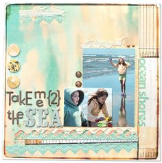 layout by special guest Amy Heller using our BOARDWALK kit: watercolor background paper by sassafra