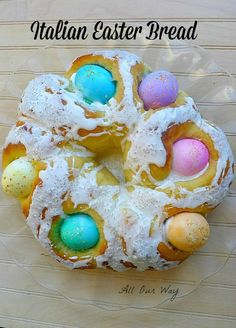 Italian Easter Bread with Eggs is a not too sweet bread that is scented with orange. The colored eggs cook as the bread bakes. An orange glaze finishes it. Easter Dinner, Easter Brunch, Spring Recipes, Easter Recipes, Easter Desserts, Holiday Treats, Holiday Recipes, Dinner Recipes, Italian Easter Bread