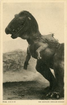 Postcard of the Sinclair Exhibit's Tyrannosaurus rex at the Century of Progress in Chicago, Illinois. 1933.