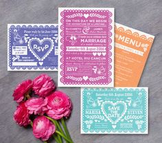 Bright and beautiful Mexican fiesta inspired wedding stationery - these invites can be personalised online for digital printable PDFs or ordered professionally printed. Available in pink, teal/turquoise, indigo blue and orange. Other matching Mexican paper bunting (papel picado) invitations and stationery available at HipHipHooray.com
