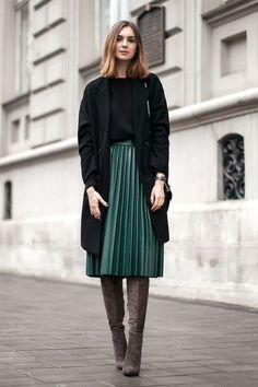 Leather Pleats + Coat + Suede Boots