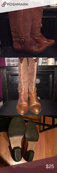 Macy's cowboy boots Minimal wear and tear. Only worn twice. Bandolino Shoes Combat & Moto Boots