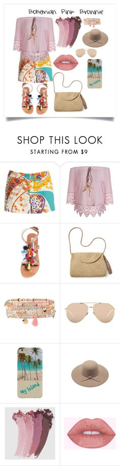 """Beach Outwear : Bohemian Pink Brownie"" by bngendra on Polyvore featuring Trina Turk, Steve Madden, Mar y Sol, Accessorize, Linda Farrow and Gucci"