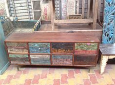 Fab Indian sideboard. Made from recycled wooden panels. Marigold, Clifton Arcade, Bristol, Aug 2016
