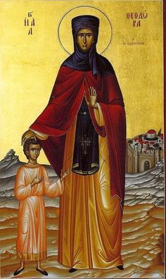Orthodox icon of Saint Theodora of Alexandria. Religious Icons, Religious Art, 11. September, Best Icons, Orthodox Christianity, Alexandria, Holy Spirit, Book Art, Saints