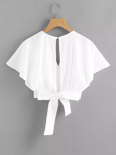 Deep V-cut Split Back Bow Tie Blouse Style : Elegant Sleeve Type : Batwing Sleeve Decoration : Button, Open Back, Knot, Wrap Collar : V Neck Pattern Girls Fashion Clothes, Teen Fashion Outfits, Girl Outfits, Fashion Dresses, Mens Fashion, Fashion Tips, Crop Top Outfits, Cute Casual Outfits, Pretty Outfits