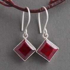 Genuine Ruby earrings - Ruby dangle earrings - Real ruby earrings #RubyEarrings #JulyBirthstoneEarrings #RubyDangleEarrings #SterlingSilverEarrings  $125.00