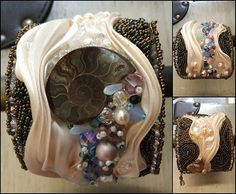 Hey, I found this really awesome Etsy listing at https://www.etsy.com/listing/213534263/shibori-bead-embroidered-cuff-ammonite