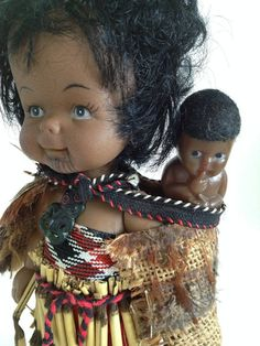 Vintage Maori Doll with Baby from NZ stands by detteryan on Etsy