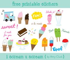 FREE download & print: ice cream stickers. #free #printables #stickers
