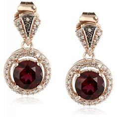 10k Rose Gold Round Shape Rhodolite with White and Champagne Diamond Fashion…