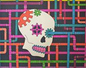 Steampunk Skull Colorful 9x12 Sharpie Drawing Gears and Pipes Artwork Wall Decor Gift Idea Alternative Art Original Skull Drawing