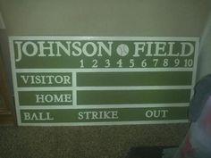 Personalized Pottery Barn Inspired Baseball Chalkboard Scoreboard on Etsy, $100.00