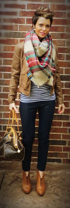 Tartan plaid, blanket scarf, stripes, navy, style, fashion, outfit, booties