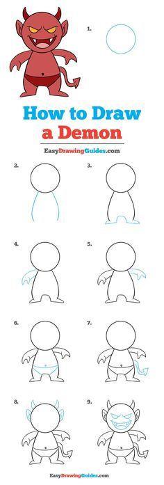 Learn How to Draw a Demon: Easy Step-by-Step Drawing Tutorial for Kids and Beginners. #a Demon #drawingtutorial #easydrawing See the full tutorial at https://easydrawingguides.com/how-to-draw-a-demon/.