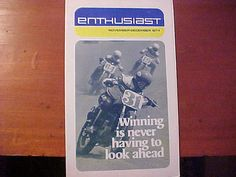 This is a True Genuine Vintage 1974 AMF Harley Davidson Motorcycle ENTHUSIAST News Paper Like Magazine. November-December Issue. Its all about Harley Davidson Racing back in the day. 16 Pages. Scarce to find these nowadays. Measures 12 x 71/4 folded then unfolds out to 14-1/2 by 12 thus making