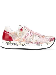 Premiata White - panel lace-up sneakers - women - Leather/PVC/rubber - 35, Pink/Purple