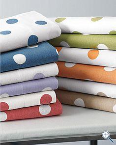 polka dot sheets in green/ blue